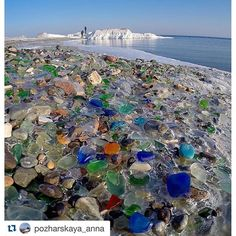 Sea glass on a Russian beach