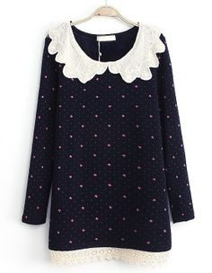 Gosh I love these peter pan collars!  Navy Contrast Lace Collar Bow Print Dress - Sheinside.com