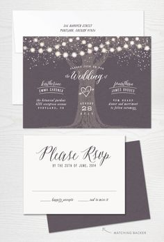 Garden Lights Rustic Wedding Invitation- LOVE IT
