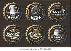 Set beer logo on caps - vector illustration, emblem brewery design on black background , Beer Logo Design, Brewery Design, Pub Logo, Beer Caps, Beer Brands, Restaurant, Logo Food, Retro, Design Crafts