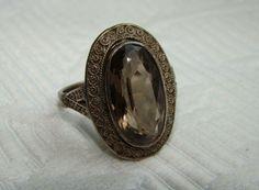 1930s Original Theodor Fahrner 925 Silver and Smoky Quartz Art Deco Ring #TheodorFahrner