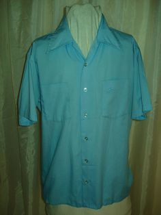 Vintage 70s Mens Blue Cotton Button Front Shirt Embroidered Flags Mod Rockabilly