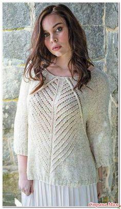 Пуловер реглан с ажурными дорожками(выкройка и схема узора). Спицы.