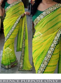 Buy online shopping sarees at - Hyderabad. Designer Printed sarees designed with heavy embroidery work and stone work. Blue Silk Saree, Chiffon Saree, Lehriya Saree, Sari, Saree Blouse Neck Designs, Saree Blouse Patterns, Kurti Designs Party Wear, Party Wear Sarees, Bandhani Dress