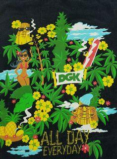 Men's XL DGK  Black Pineapple Express Tiki Marijuana Party 420 All Day Everyday…