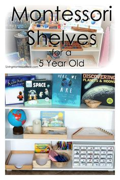 Ideas for preparing Montessori shelves at home for a 5 year old with or without classic Montessori materials - Living Montessori Now #homeschool #preschool #Montessori #kindergarten