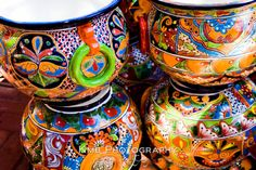 I love the colors in these pots!  Heritage  Colorful Mexican Ceramic Pottery Kitchen by kmbphoto, $17.00