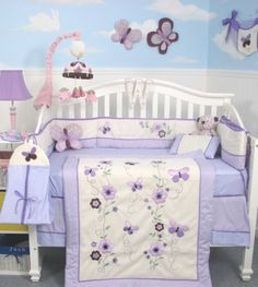 Soho Lavender Flower Garden Baby Crib Nursery Bedding Set 13 Pcs Included Diaper Bag With Changing