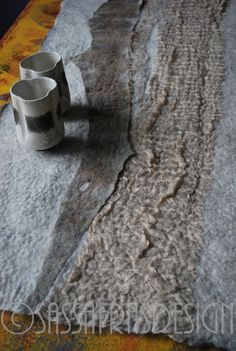 Felted table runner OOAK fiber art home by sassafrasdesignl Etsy