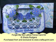 Lattice Fence Card - Forget Me Not