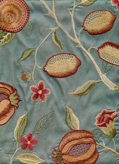 Fruit Venezia Silk Curtain Fabric Stunning embroidered aqua silk adapted from a classic William Morris design