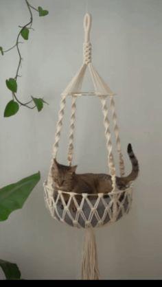 Macrame Design, Macrame Art, Macrame Projects, Macrame Plant Hanger Patterns, Macrame Patterns, Cat Hammock, Cat Room, Pet Furniture, Cat Tree