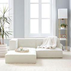 Cushy Lounge Sectional Sofa | Teen Sofa | Pottery Barn Teen Clean Sofa, Ottoman, Lounge Seating, Lounge Couch, Corner Chair, Pottery Barn Teen, Modular Sofa, Luxury Home Decor, Sectional Sofa