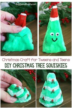 DIY Squishy Toy: Make your own Christmas Tree Squishies- a fun holiday craft for tweens and teens and a fun, homemade sensory toy too. #buggyandbuddy #diy #tweencrafts #teencrafts #christmas #christmascrafts #sensorytoy #christmastreecraft #kidscrafts #craftsforkids
