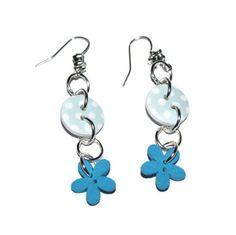Blue flowerbutton earrings, Leonora