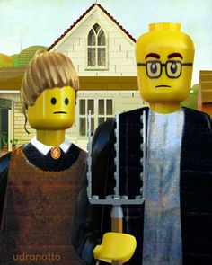 As I was working on American Gothic with Dog , I enjoyed seeing the endless parodies of Grant Wood's painting. I suppose the Mona Lisa has b. Grant Wood American Gothic, American Gothic Parody, American Art, Deviant Art, Lego Painting, Art Grants, Brick Art, Inspiration Art, Mona Lisa