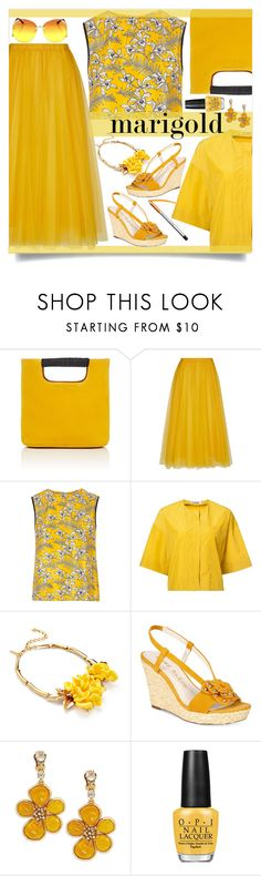 """Marigold Style"" by loveroses123 ❤ liked on Polyvore featuring Simon Miller, Rochas, Oscar de la Renta, Jil Sander, Anne Klein, OPI and marigold"