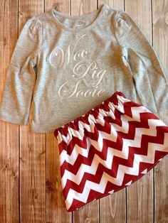 Woo Pig Sooie Tee with Razorback Red Chevron Skirt by LittleBunnySueSue on Etsy
