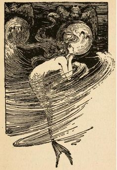 Fairy tales of Hans Andersen (1908)illustrated by Helen Stratton'As often as the water lifter her up she peeped in through the transparent panes.' Alphonse Mucha, Mermaid Art, Vintage Mermaid Tattoo, Mermaid Kids, Mermaids And Mermen, Hans Christian, Merfolk, Conte, Mythical Creatures