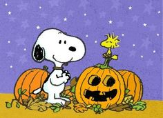 Snoopy and Woodstock awaiting the arrival of the Great Pumpkin!
