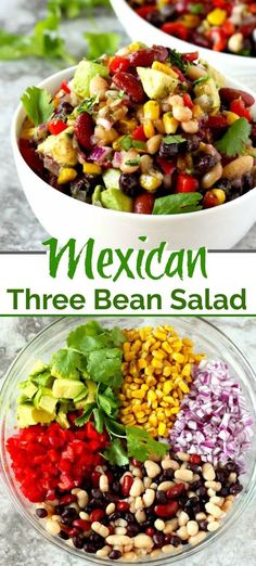 This Mexican Three Bean Salad is quick, easy and the perfect make-ahead recipe. This protein-rich Three Bean Salad is loaded with Mexican flavours and always a favourite! The perfect no-mayo side salad for picnic and barbecue season, plus it makes fabulous healthy packed lunches! #best #easy #healthy #recipe #nomayosalad #summersalad #bbq #picnic #glutenfree #3beansalad #vegetarian #Mexicanfood Mexican Bean Salad, Mexican Salads, Mexican Food Recipes, Mexican Potluck, Mexican Dinner Party, Mexican Beans Recipe, Bean Salad Recipes, Healthy Salad Recipes, Vegetarian Recipes