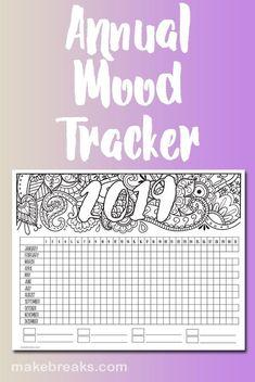2019 Annual Mood Tracker Free Printable Planner Page Free printable mood tracker for 2019 Printable Planner Pages, Bullet Journal Printables, Free Planner, Planner Diy, Planner Ideas, Happy Planner, Planner Stickers, Tracker Free, Mood Tracker