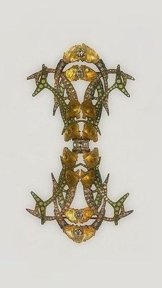 RENÉ LALIQUE | Brooch - ca. 1905. Gold, enamel, diamonds, glass. ♦️More Like This At Fosterginger @ Pinterest♦️