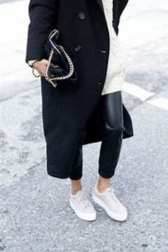 Cool 48 Amazing Winter Outfits Ideas with White Sneakers. More at https://simple2wear.com/2018/03/03/48-amazing-winter-outfits-ideas-with-white-sneakers/