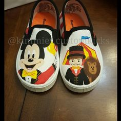 Mickey mouse carnival #kimmiescustomkicks #kimberlys_creations #handpaintedshoes #mickeymousecarnival #mickeymouse #carnival #circus #circustheme #firstbirthday #carnivalbirthday