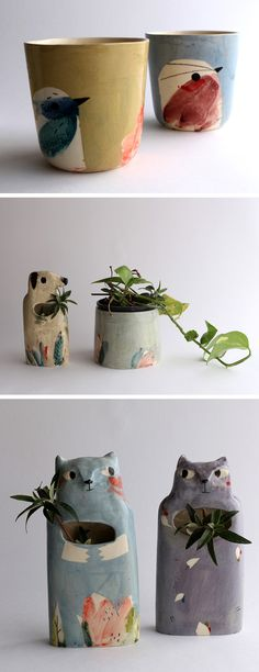 Painted ceramics by Elise Lefebvre illustrated ceramics modern ceramics animal planters Ceramic Tableware, Ceramic Decor, Ceramic Planters, Ceramic Cups, Ceramic Pottery, Ceramic Painting, Painted Ceramics, Ceramic Techniques, Glazing Techniques