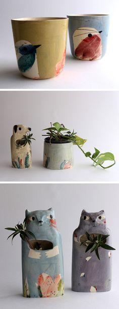 Painted ceramics by Elise Lefebvre   illustrated ceramics   modern ceramics   animal planters