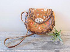 Vintage Tooled Leather Purse, Hand Painted Flower Design, Small 60's Handbag, Festival Wear Boho