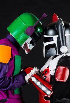 Joker and Harley Quinn Bob's Fett cosplay. Harley Quinn Cosplay, Joker And Harley Quinn, Amazing Cosplay, Best Cosplay, Comic Movies, Comic Books, Dc Comics, Mandalorian Armor, Cosplay Costumes