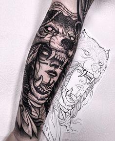 Did this wolf headdress last week! Thanks a lot Darren! I will be in Frankfurt C… Did this wolf headdress last week! Thanks a lot Darren! I will be in Frankfurt Convention next month! Wolf Tattoos, Hai Tattoos, Native Tattoos, Viking Tattoos, Animal Tattoos, Forearm Tattoos, Body Art Tattoos, Girl Tattoos, Tattoos For Guys