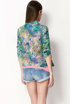 Green Blue Long Sleeve Leaves Print Jacket - Sheinside.com
