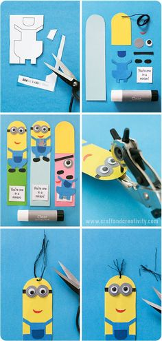 Minion bookmarks with template - by Craft & Creativity: