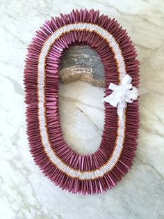 Burgundy and White Mauna Loa Blossom Ribbon Lei with Gold