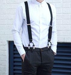 """Mens Wide Elastic Suspenders Braces Clip Black/Brown/Navy 1"""" Inch Wide  #DGB"""
