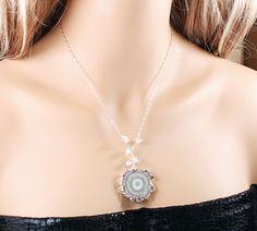 Crystal necklace: amethyst druzy sterling silver stalactite stone jewelry clear quartz gray. $120.00, via Etsy.
