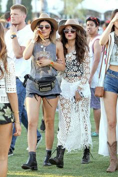 Selena Gomez at Coachella 2014 in beautiful white lacy long dress