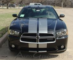 """2011-2014 Dodge Charger """"N-CHARGE RALLY"""" Mopar Style Vinyl 10 Inch Racing Stripes Kit"""
