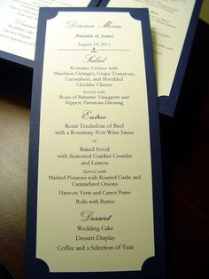 Simply Elegant Reception Menus - Textured. $1.15, via Etsy.