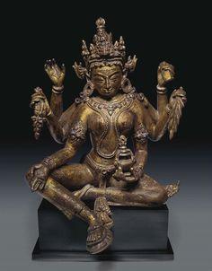 An Important Gilt Bronze Figure of Vasudhara, Nepal, 13th century