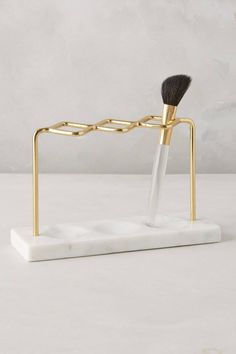 Brass Makeup Brush Holder - anthropologie.com
