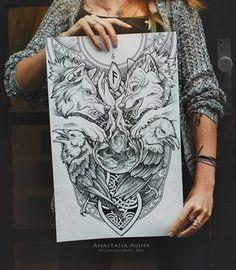 • «Odin» | Завершенный эскиз по мотивам скандинавской мифологии! Формат А2, рапидографы, черная пастель. Графика и дотворк.  Волки Одина: Гери (жадный) и Фреки (прожорливый). Вороны: Хугин (мыслящий) и Мунин (помнящий). Иггдрасиль, чья крона передана в виде рук Фригг.  Глаз Одина, отданный Мимиру в обмен на мудрость.  У корней Иггдрасиля изображены норны: Урд, Верданди и Скульд.  На фоне - кусочки северного неба.