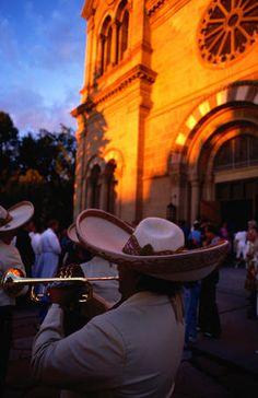 Celebrations for Fiesta de Santa Fe in front of St Francis Cathedral.