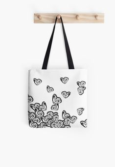 """""""Black & White Butterflies"""" Tote Bags by amayabrydon Butterfly Illustration, White Butterfly, Long Hoodie, Pouches, Laptop Sleeves, Tote Bags, Butterflies, Print Design, Totes"""
