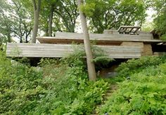 John C. and Ruth Pew House / 3650 Lake Mendota Drive, Madison, Wisconsin / / Usonian / Frank Lloyd Wright -- Built of red tide water cypress and local limestone, and cantilevered over a ravine, the house is often compared to Fallingwater. Frank Loyd Wright Houses, Falling Water Frank Lloyd Wright, Usonian House, Amazing Buildings, Amazing Houses, Modern Buildings, Historical Architecture, Architecture Images, Amazing Architecture