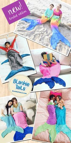 Climb into the coziness of Blankie Tails™ Mermaid & Shark Blankets! Available for mermaid & shark enthusiasts of all ages, Blankie Tails™ are made of premium, super soft, double sided fleece and are perfect for travel, cozying up at home, movie nights...and make a great gift! The Snuggle is Real.