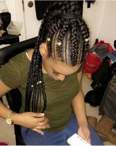 # fishtail Braids cornrows # fishtail Braids with bangs - elisa Box Braids Hairstyles, Fishtail Braid Hairstyles, Pigtail Braids, Twist Braids, Cool Hairstyles, Braids Cornrows, Fun Braids, Crotchet Braids, Updo